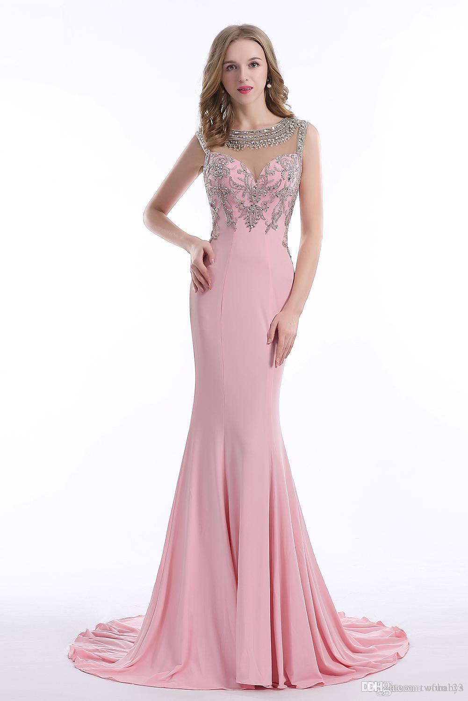 Nuevo 100% Imagen real Elegante exquisito hecho a mano de abalorios Crystal Beaded Back Sirena Vestidos largos de baile Vestidos famosos