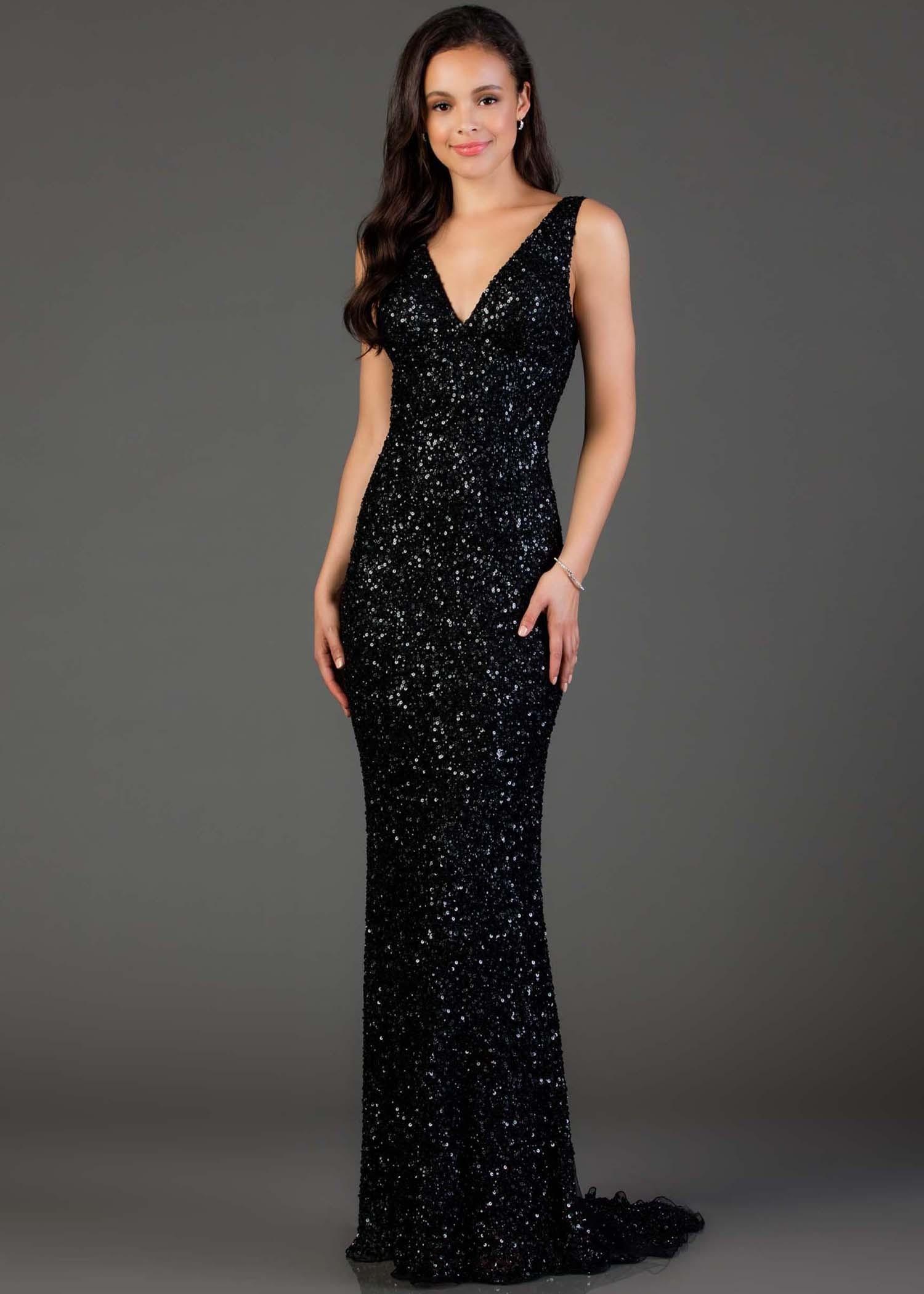 Adjustable-Strap Open-Back V-Neck Long Prom Dress | Prom