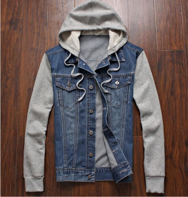 Moda primavera dei nuovi uomini di cucitura denim jacket outerwear JEAN staccabile con cappuccio del rivestimento del cappotto