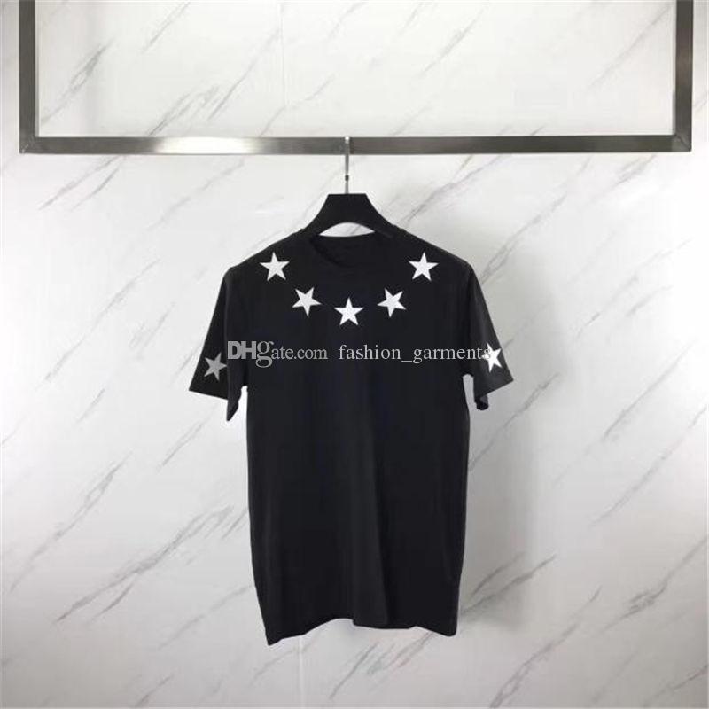 Fashion Designer T Shirt Hommes Vêtements Hommes Femmes manches courtes Cinq étoiles Pointu Flock Impression T-shirts