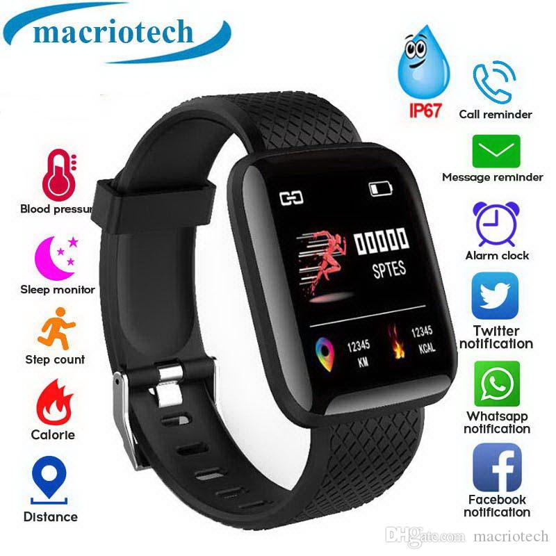 116 Reloj inteligente Pulsera Medición de la presión arterial Impermeable Rastreador de ejercicios Monitor de ritmo cardíaco Podómetro Smart Band Mujeres Hombres