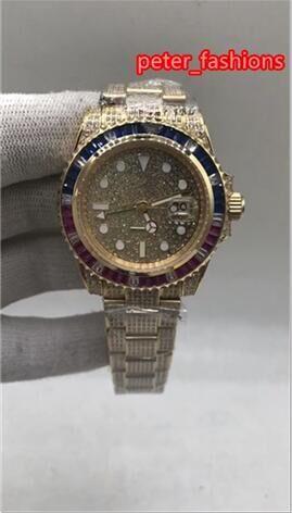 Алмазный Мужская мода часы высокого качества, золото Diamond часы из нержавеющей стали Мужская мода Автоматический календарь Часы