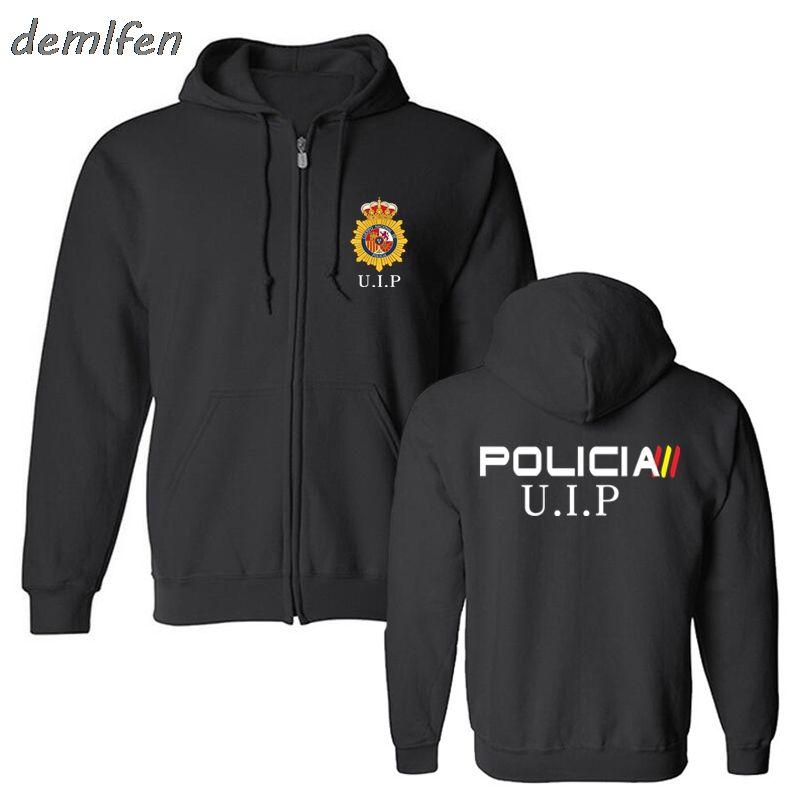 Espana Policia Spagna Nazionale Espana Policia Anti Swat Geo Goes Forze Speciali Uomini Hoodie alti giacca Felpa