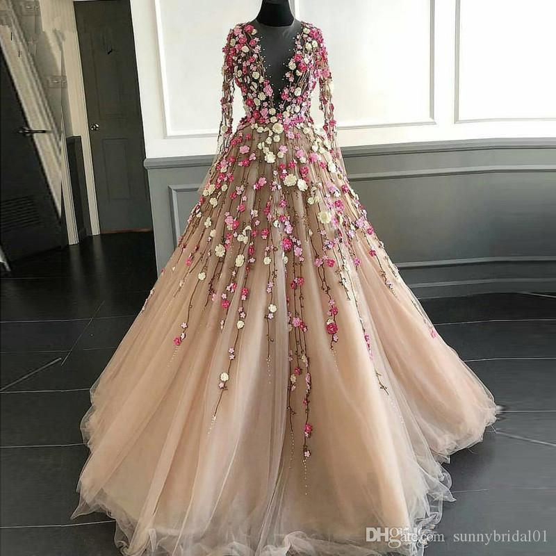 Fairy 3D Floral Flowers Long Prom Dresses Illusion Neckline Floor Length Champagne Tulle Long Sleeves Chic Evening Dress Gown