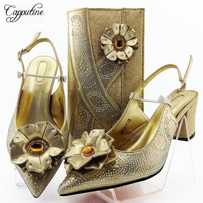 Venda quente, decorado com flores sapatos e bolsa Set Italian Style Mulher sapatos de salto alto e bolsa Set Party For