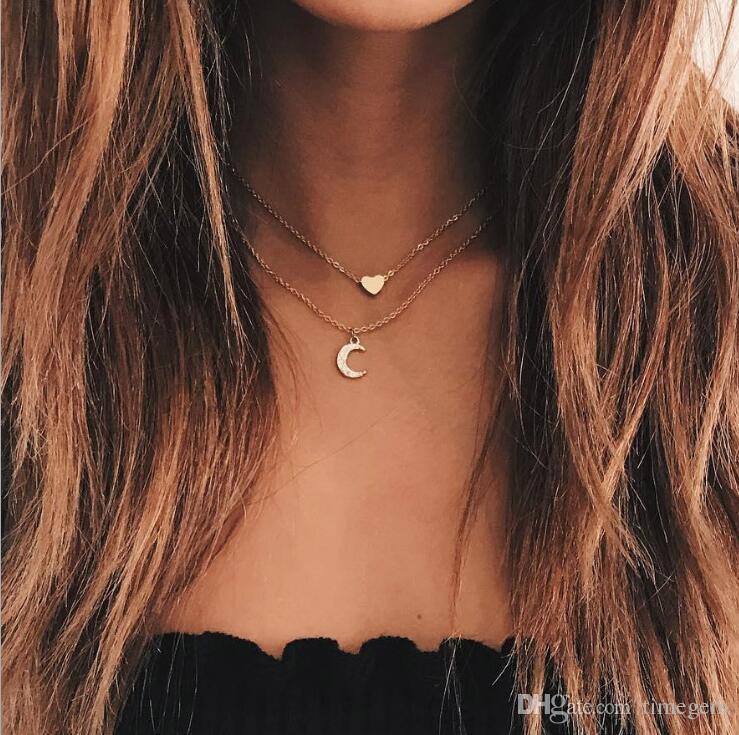 Japan and Korean Popular Cute Modern Sweet Peach Heart Pendant Necklace Multi-layer Crystal Rhinestone Necklace N5109