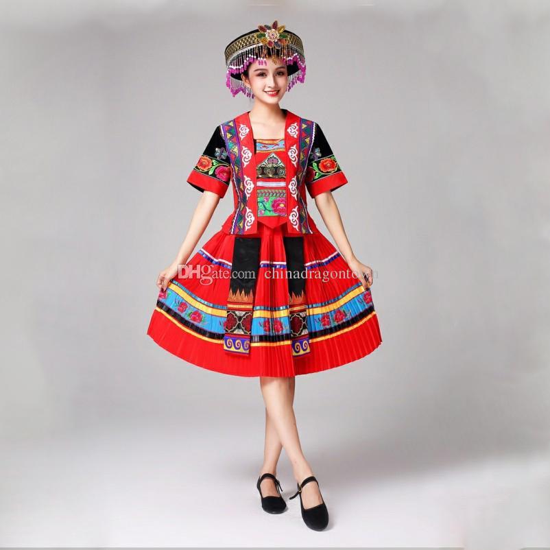 Nuovo arrivo cinese costumi di danza popolare cinese Miao nazionale tradizionale spettacolo vestito costumi di scena per cantanti abbigliamento etnico