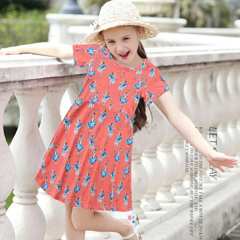Princesa da menina Vestido de Verão Floral Imprimir vestido de manga curta Outfits Páscoa Reino Unido