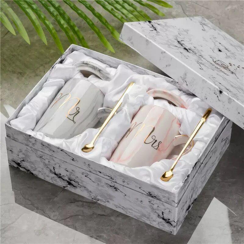 Mr Mrs Flamingo Couple Cup and Mug Gift Box Ceramic Coffee Mug Marble Pattern Home Drinkware Lovers Gift Wedding Gift T200104