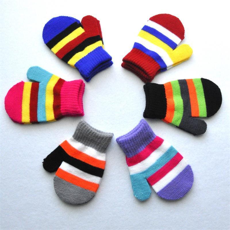 infantil guantes sin dedos de Kinder 1-4 años de edad de escuela primaria 6 de rayas de color estudiantes Guantes Mantenimiento de invierno cálido