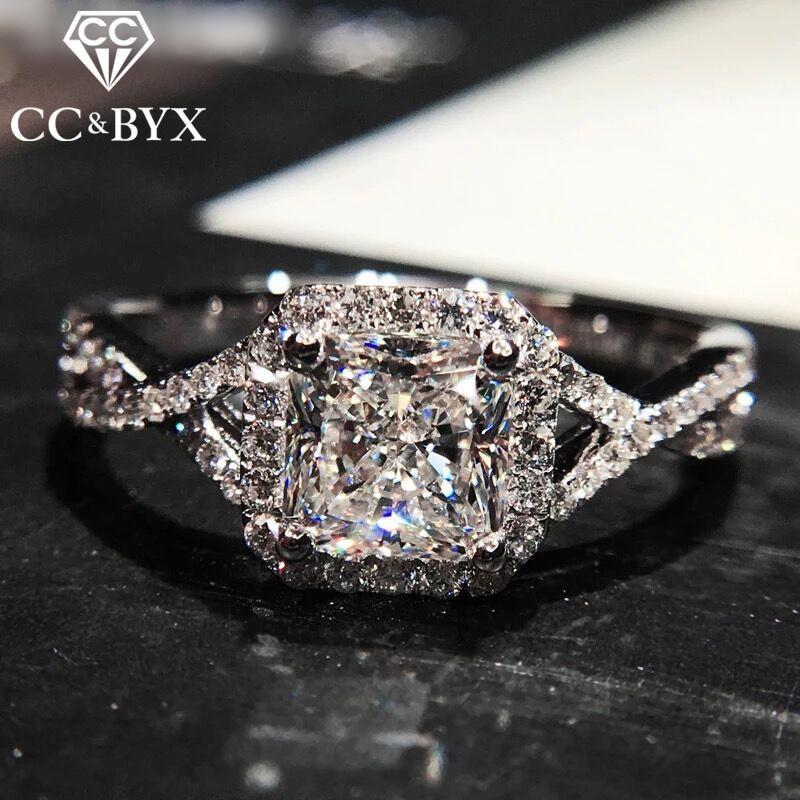 Fashion Jewelry 925 Silver Rings For Women Engagement White Gold Color Wedding Ring Luxury Gift Chic Accessories