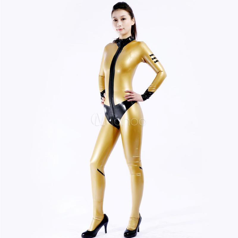 Alta Qualidade Adulto Womens Sexy Ouro Catsuit brilhante do partido Metallic Traje Feminino Latex Spandex Fullbody Cosplay Costumes Suit