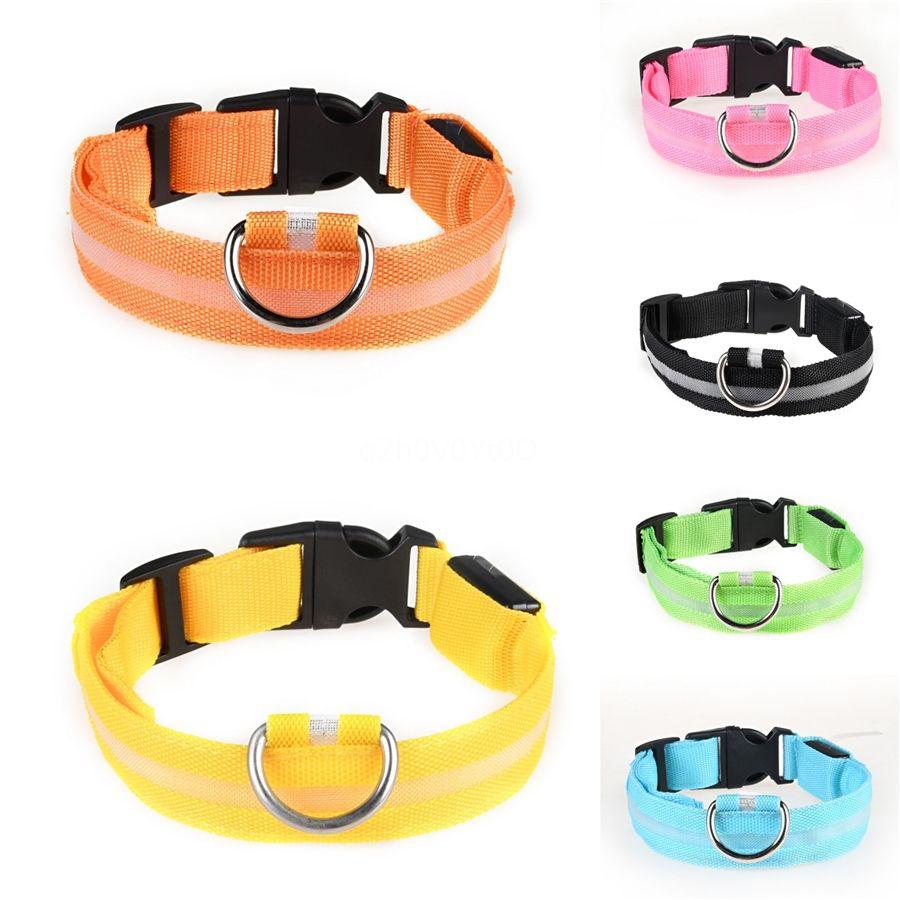 Reflective Nylon Dog Led Collar Printed Adjustable Pet Collars Leash Strap For Medium Large Dogs Pitbull No Pull Pet Dog Supplies #502