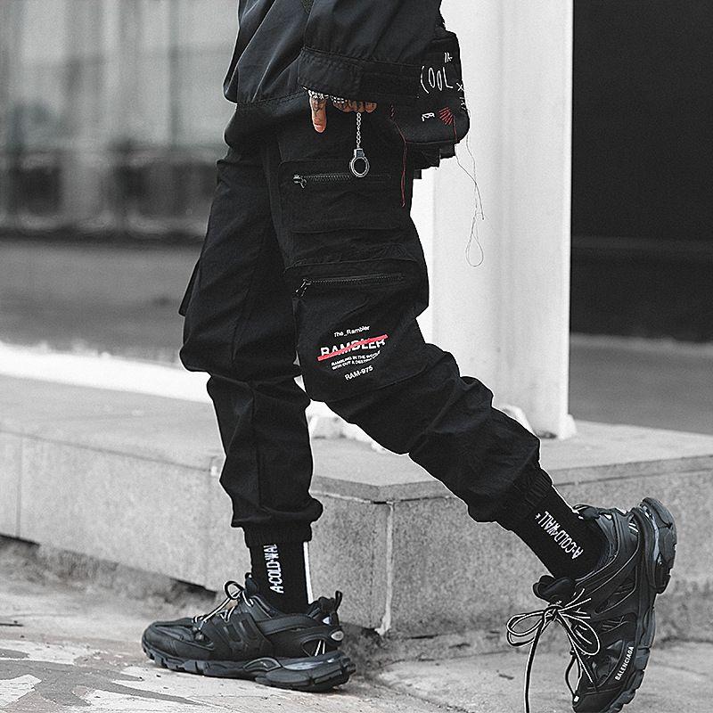 Septhydrogen Marca carico degli uomini Pantaloni Streetwear degli uomini di Hip Hop matita nera tasche dei pantaloni Harem jogging modo della molla Mens Harem pantaloni