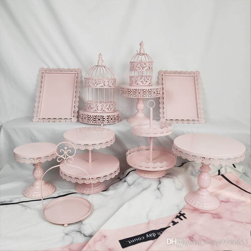 Awesome Wedding Set Tray Dessert Wholesale Metal Birdcage White Pink Color Funny Birthday Cards Online Elaedamsfinfo