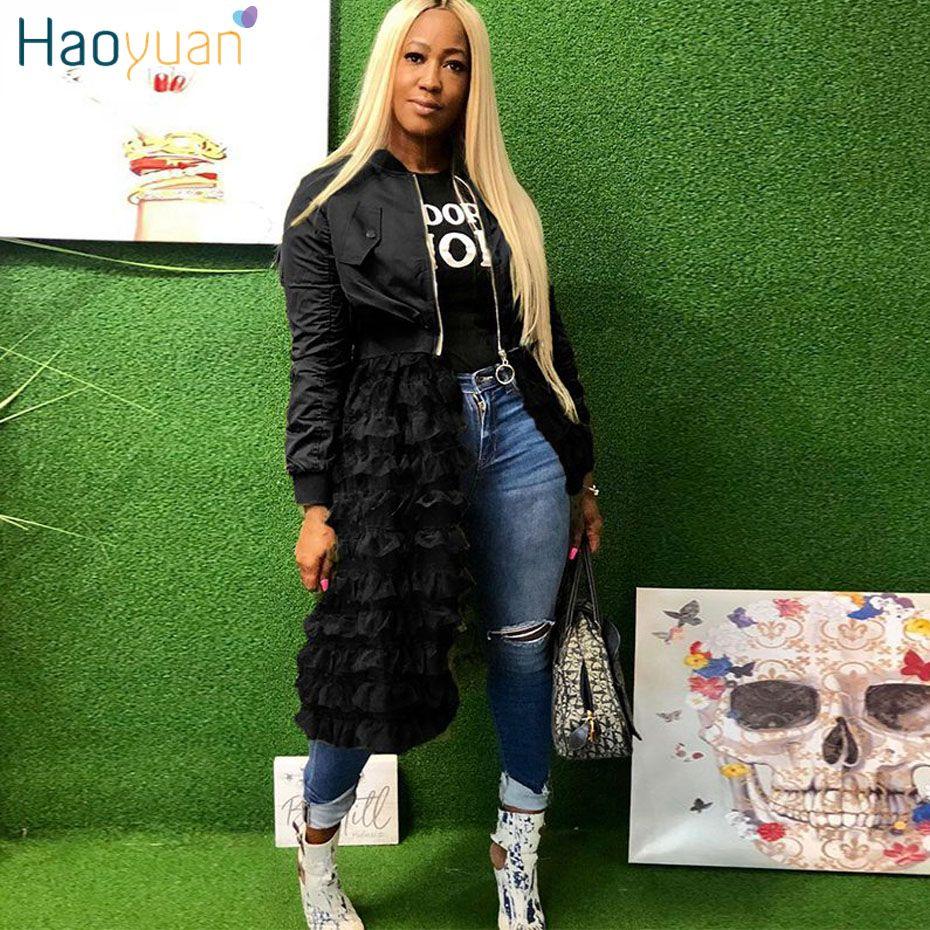 2019 HAOYUAN Giubbotto bomber a maniche lunghe taglie forti Abbigliamento donna Sexy cerniera anteriore in mesh con volant Cappotto casual rosa nero cappotto lungo