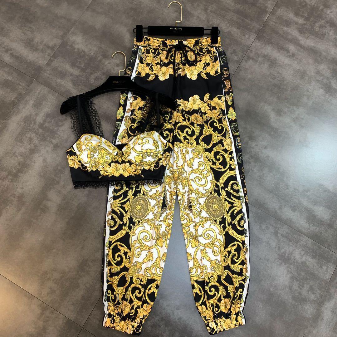 Estate Giallo stampa floreale pizzo Dew Ombelico Camis pantaloni lunghi a due pezzi Donne Imposta MF874