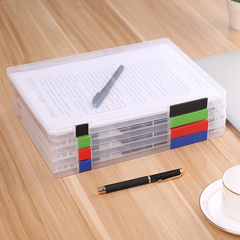 Caja de almacenamiento de archivos de plástico transparente documento caso portátil organizadores de papel K888