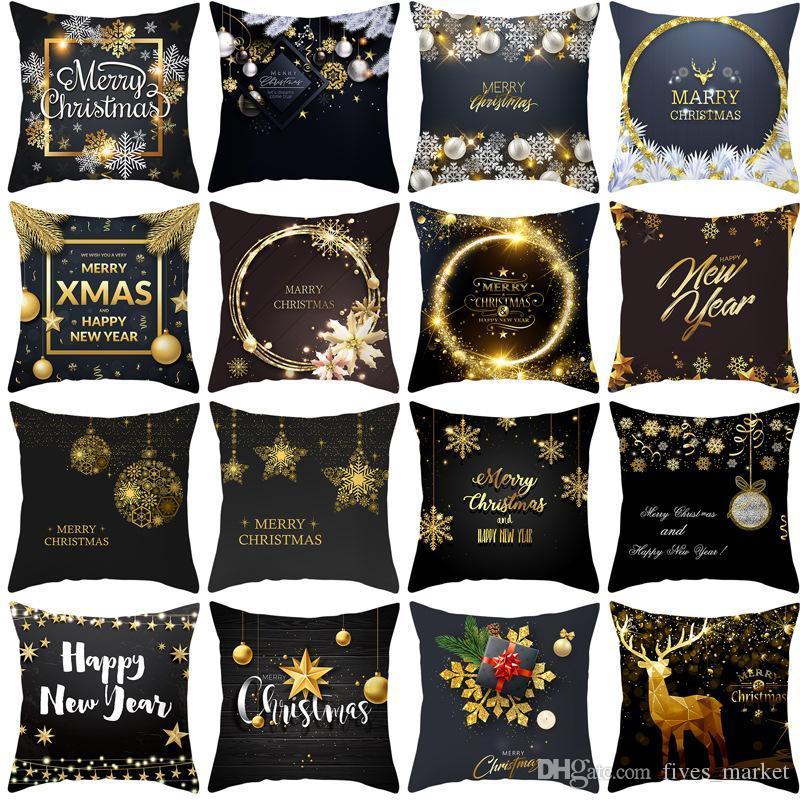40 Styles Black Christmas Pillow Couverture souple peau de pêche Canapé Coussin de Noël Mode Lettre Snowflake Imprimer Taie AN3014
