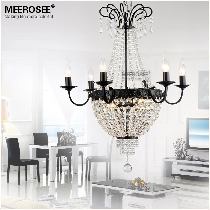 French Empire Contemporary Crystal Chandelier Light Fixture Vintage Crystal Pendant Light Wrought Iron White Chrome Black White Hanginglamp
