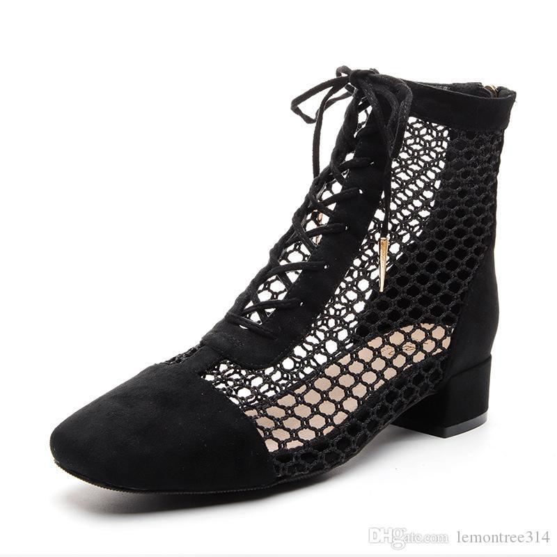 Женщины Sexy выдалбливают Boots Black Повседневный Ботильоны Коренастый пятки Узелок сапоги Сандалии JY19