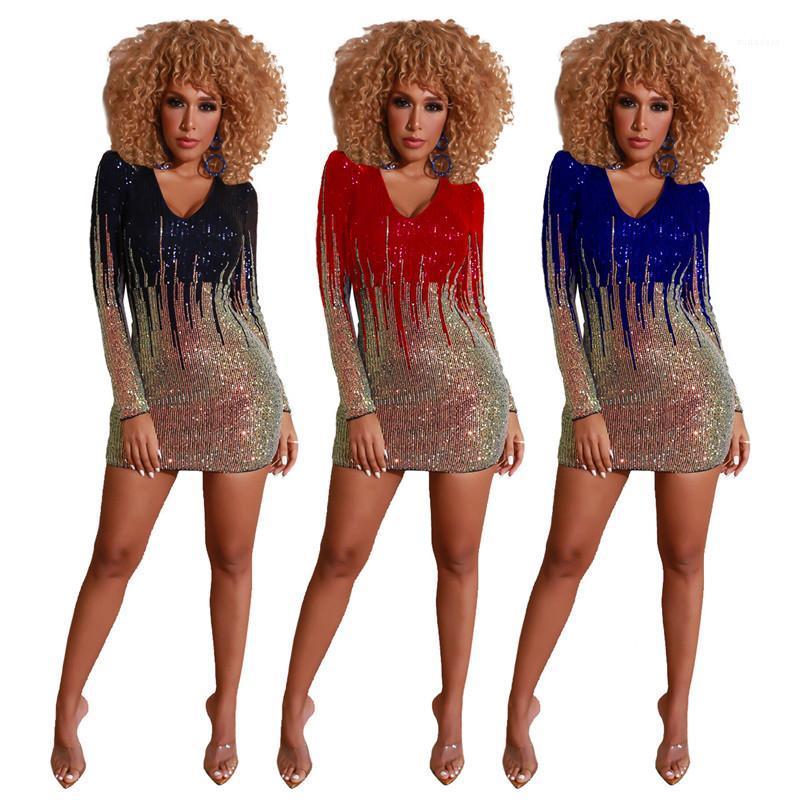 Sexy scollo a V da partito dei vestiti del manicotto lungo naturale di colore dei vestiti dalle donne vestiti progettista delle donne Paillettes rivestite Abiti