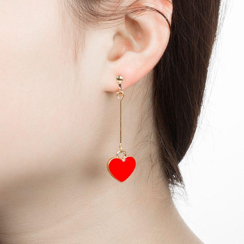 نساء مجوهرات حلق Acme تعاقدت أزياء Heartly ياردروب على شكل قلب أقراط النساء الأقراط قلب أحمر مزدوج