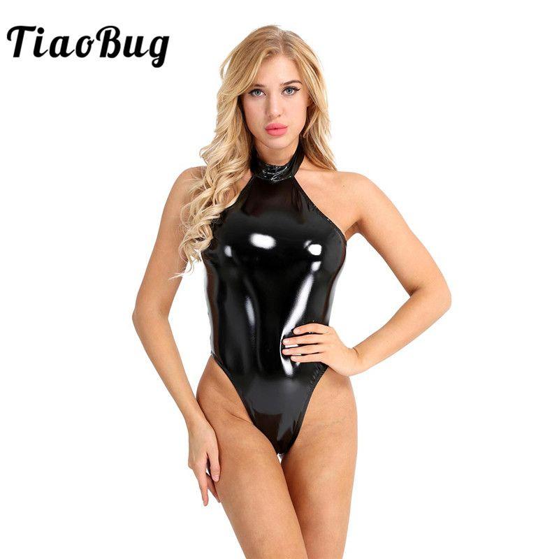 TiaoBug Donne One-piece Wetlook in pelle verniciata Catsuit Costume da bagno Halter Body Body Nightclub Partito Taglio alto Tuta sexy