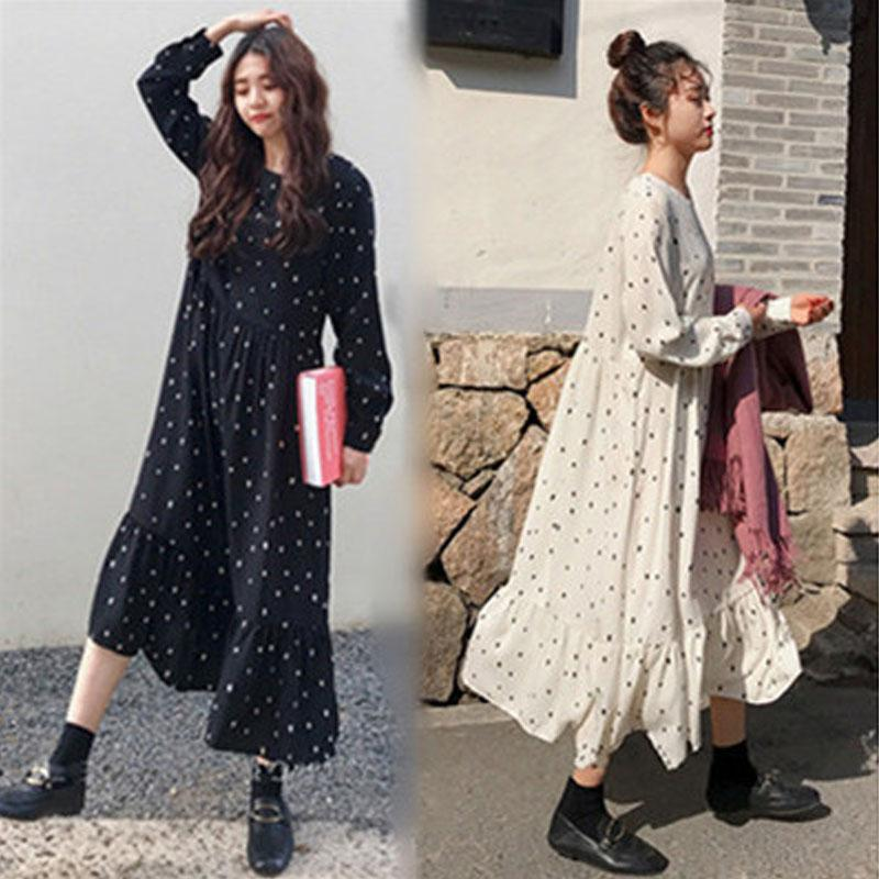 Плюс размер 2020 Весна Лето Европейского Стиль Brand Cothing Сыпучий длинный рукав Женщина Платье Версия для печати Dot белье Vestidos O-образный вырез Robe