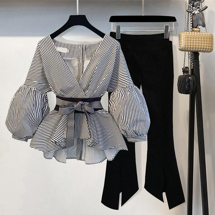 2019 퍼프 슬리브 블라우스 / 플레어 팬츠 두 조각의 양복 레이디 봄 활 V 넥 슬림 세트 화이트 / 줄무늬 속옷 얇은 정장
