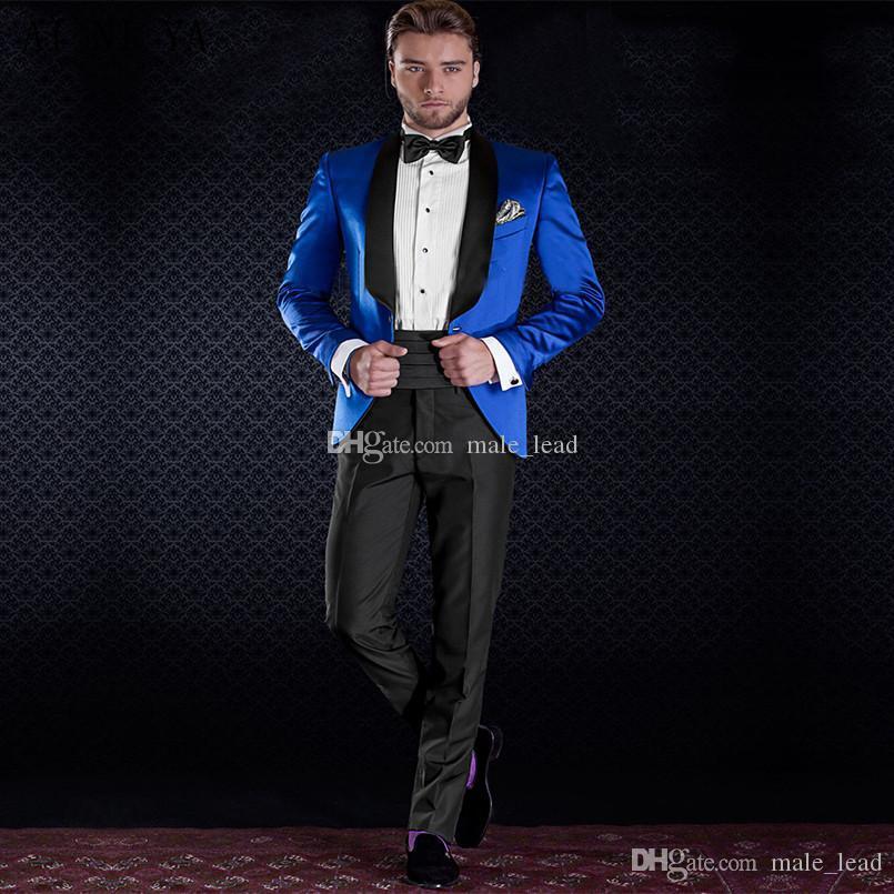 Apuesto padrinos de boda Mantón solapa del novio esmoquin para hombre vestido de novia Hombre Chaqueta Blazer Prom Cena 2 piezas traje (chaqueta + pantalones + lazo) A191