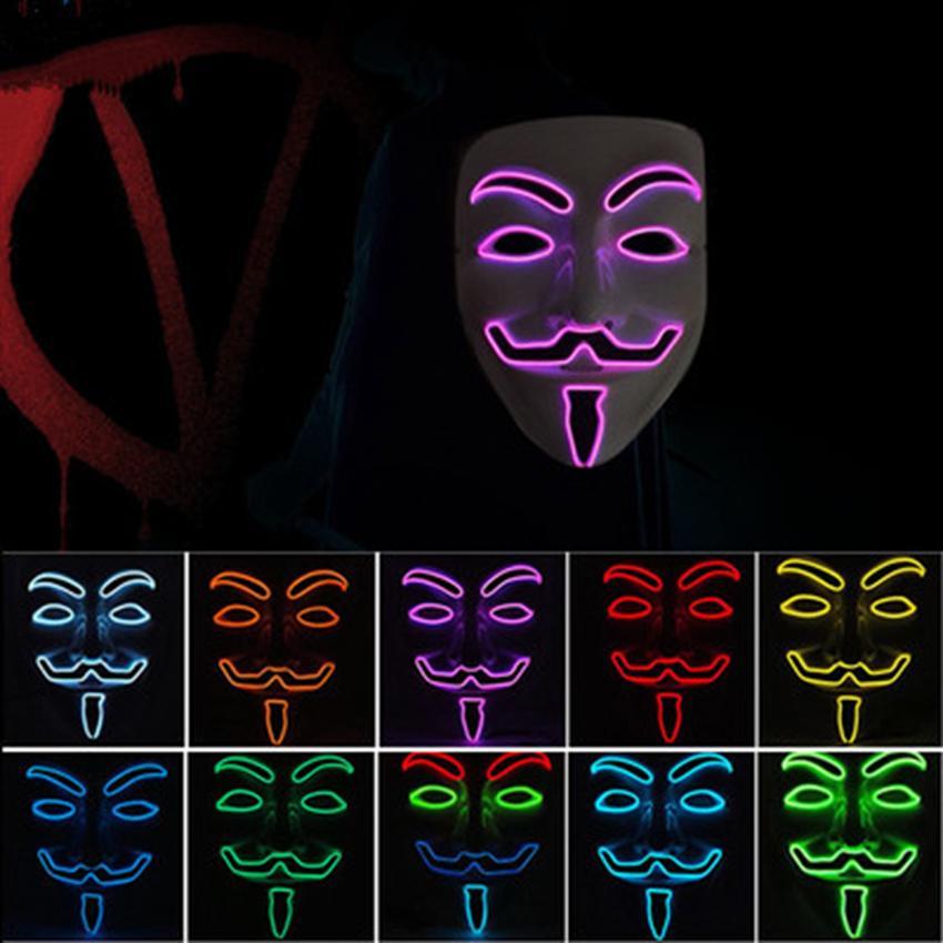 10 colores V para Vendetta Masks LED resplandor máscara Halloween máscara fiesta mascarada baile decorado máscaras ZZA1092