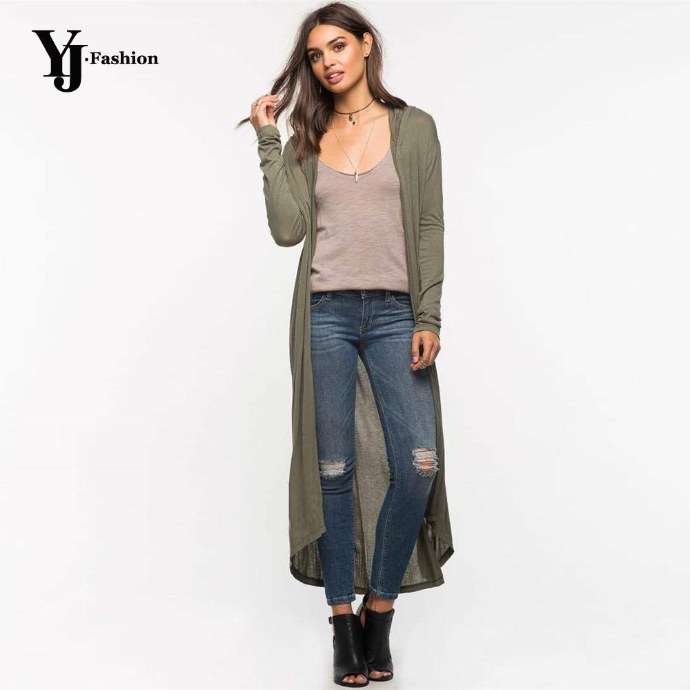 YJ Moda Negro Verde otoño mujeres de las rebecas completa de manga larga delgada Coats 2019 irregulares de algodón con capucha suéteres Tire Femme Tops CJ191217