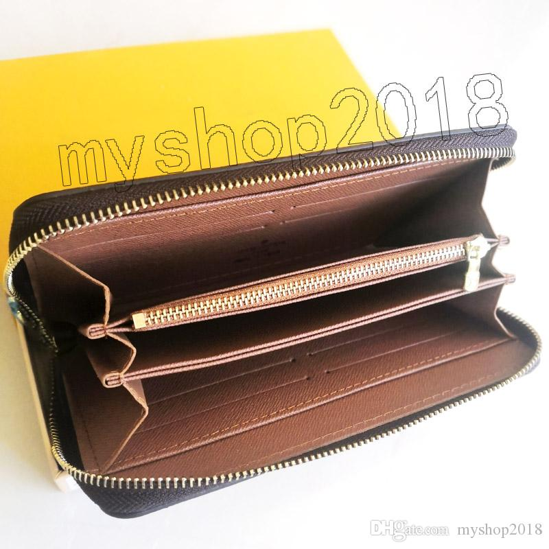 fashion designer credit card holder high quality classic leather purse folded notes and receipts bag wallet purse distribution box purse