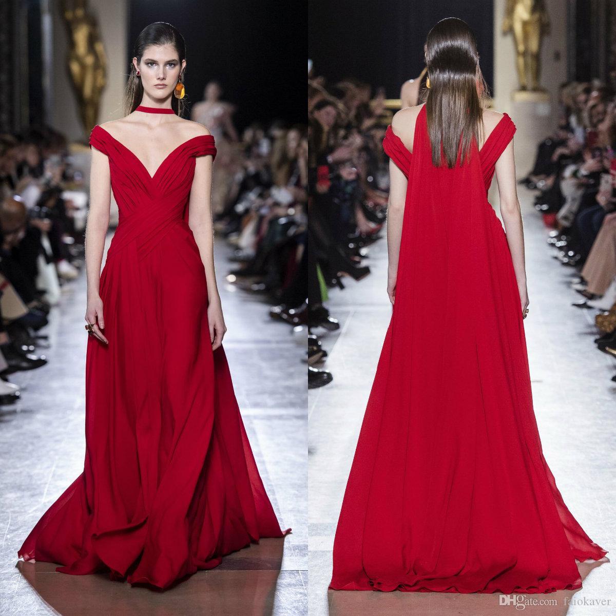 Elie Saab Evening Dresses Off The Shoulder A Line Ruffles Sweep Train Red Prom Dress 2020 Elegant Vestidos De Novia Sparkly Gowns