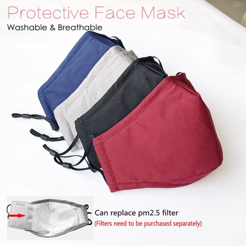 Маска для лица моющийся многоразовый маска для лица Anti-Dust Хлопок ушной Mouth Маски дышащий против пыли Защитные Черный Синий Серый HHA1385