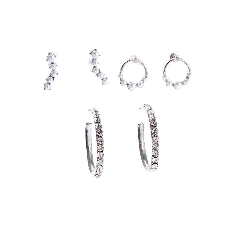 New Arrival 3pairs/set Silver Color Rhinestone Crystal Pearls Huggie C Shaped Earrings for Women Female Stud Earrings Bijoux Brinco