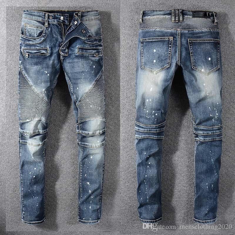 مصمم رجالي الجينز الجديدة أزياء الرجال العلامة التجارية بلاك جينز نحيل ممزق دمرت تمتد صالح سليم الهيب هوب سروال مع ثقوب للرجال