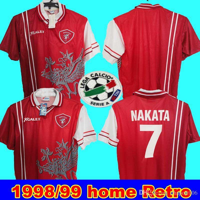 1998 99 نادي بيروجيا لكرة القدم نادي 7 # قميص ناكاتا لكرة القدم Trikot MAGLIA الكلاسيكية الرجعية نادرة جيرسي FUSSBALL PEREIRA SOCCER JERSEY