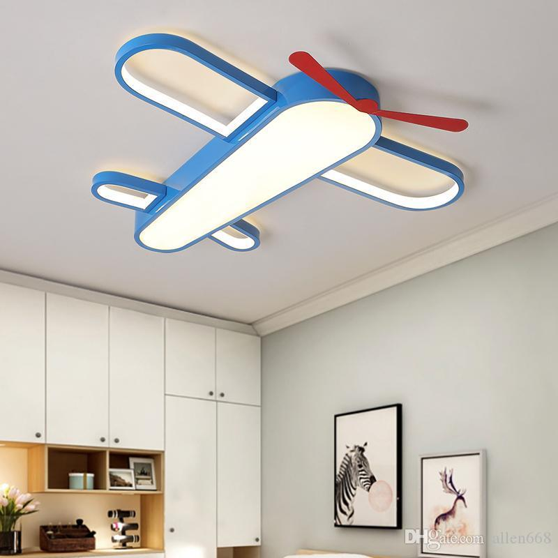 أضواء السقف الحديثة مصباح LED طائرة سقف غرفة نوم الطفل الكرتون الاطفال مصباح ديكور المنزل تعليق الإنارة تركيبات الإضاءة