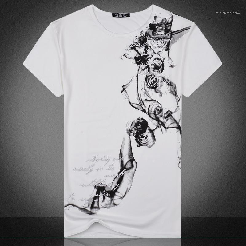 Neck Printed Мужской одежды Тонкого Mens 2020 Дизайнера Luxury Tshirt Китайского стиль короткий рукав тройники экипаж