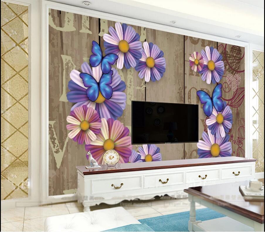 3d adesivi carta da parati Photo abitudine 3D stereo retrò fiore fiore TV parete di fondo auto carta da parati europea adesivo wallpaper per pareti 3 d