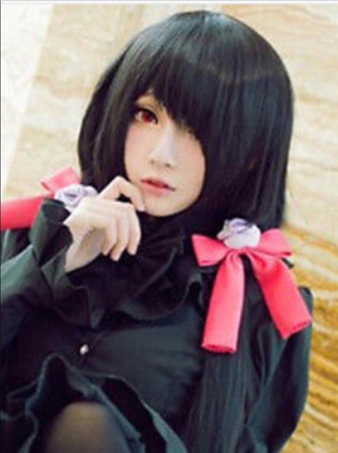 Парик бесплатная доставка косплей дата живая токисаки куруми сексуальные женщины длинный черный парик