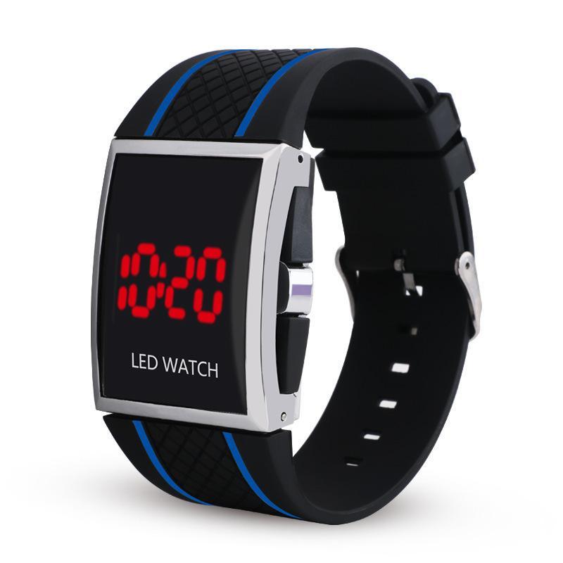 Mode Classic Design Herren Männer Männliche Sport Gummi Digital LED Uhren Großhandel Studenten Square Dial Freizeit Elektronische Armbanduhren