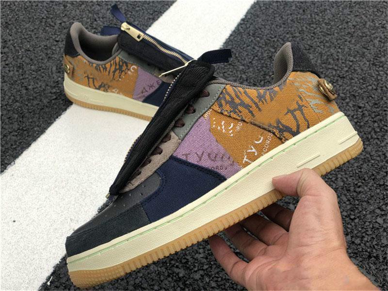 2019 Foring 1 One Velvet Multi Color Stitching Zipper TS YY Travis Laufschuhe für Männer Sport Trainer Frauen Forced-Designer-Schuhe