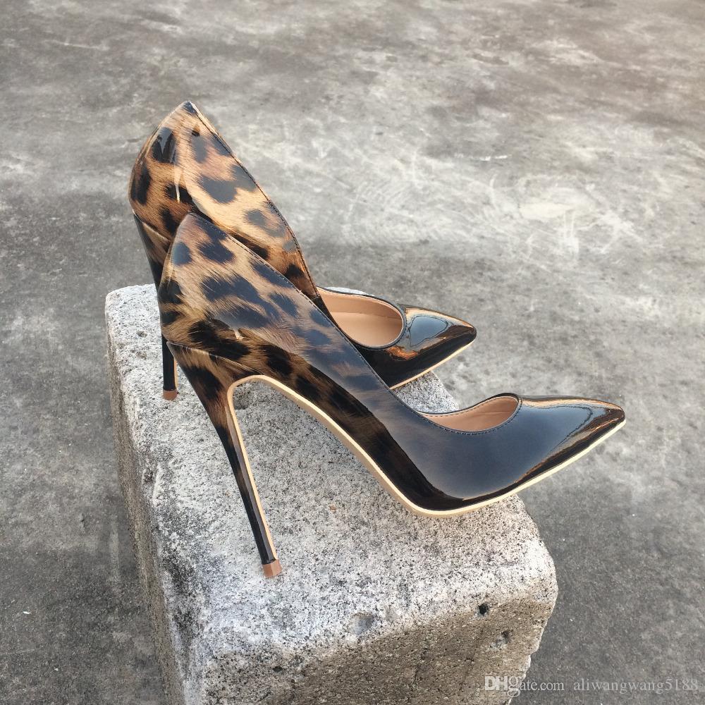 2019 бесплатная доставка мода женщины леди черный леопард лакированная кожа острым носом туфли на каблуках туфли на шпильках туфли на высоком каблуке туфли на высоком каблуке 12 см 10 см