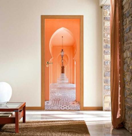 Free Shipping DIY Door Sticker Orange Archway Door Decals Decorations For Bedroom Living Room Wallpapers Decal Home Accessories