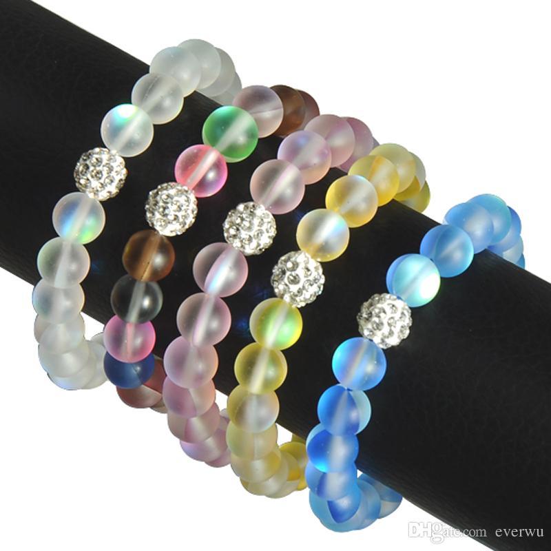 Esmeralda piedra blanca sirena perlas transparentes pulsera de cristal holográfica mística aurora borla borealis regalo estiramiento pulsera
