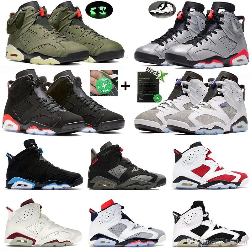 DMP Travis UNC Tinker siyah kızılötesi stilist spor eğitmenleri sneaker Jumpman nostalji gümüş uçuş yansıtan 6 6s Erkekler Basketbol ayakkabıları zeytin