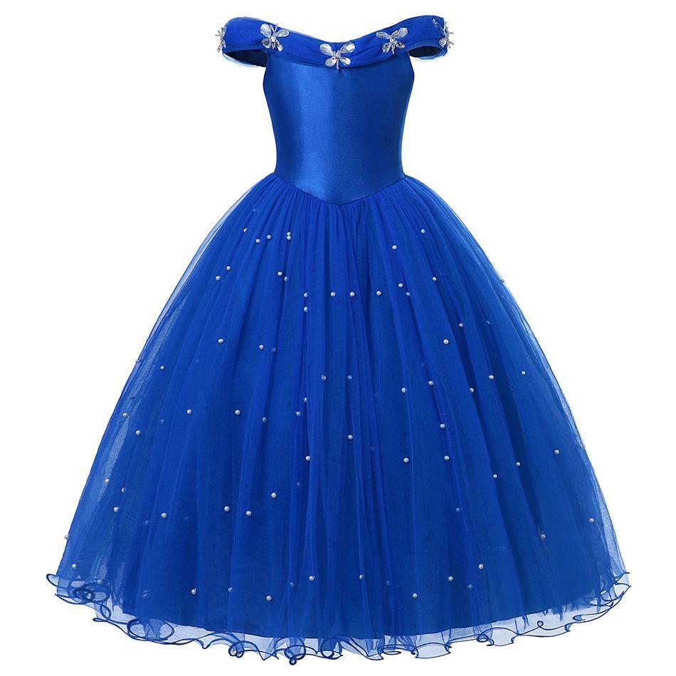 Prenses Külkedisi Giydir Giysileri Kız Kapalı Omuz Pageant Balo Çocuklar Deluxe Kabarık Boncuk Cadılar Bayramı Partisi Kostüm AA19906 DHL tarafından